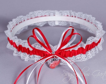 Detroit Red Wings Lace Wedding Garter - Ready to Ship