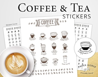 Coffee and Tea printable stickers for planner, PDF Printable Stickers, Coffee stickers, Coffee printable icon, Planner stickers, Coffee, Tea