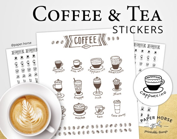 Coffee and tea printable stickers for planner pdf printable stickers coffee stickers coffee printable icon planner stickers coffee tea
