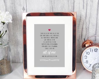 ALL OF ME John Legend 7x5 lyrics print/love romance anniversary love romance first dance our song quote art gift for her wedding decoration