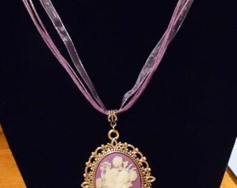 Fairy Cameo Ribbon Necklace