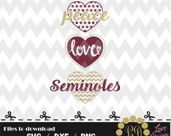 Peace Love Seminoles svg,png,dxf,cricut,silhouette,college,jersey,shirt,proud,birthday,invitation,disney,cut,university,football,basketball