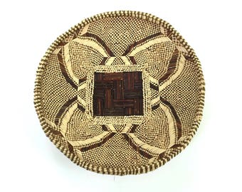 Vintage Round African Tribal Motif Woven Basket