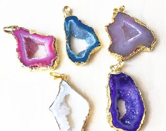 Agate Geode Slice Druzy Agate Gemstone with Electroplated 24k Gold - Freefrom Agate Geode Pendant YOU CAN CHOOSE (F1S55_20)