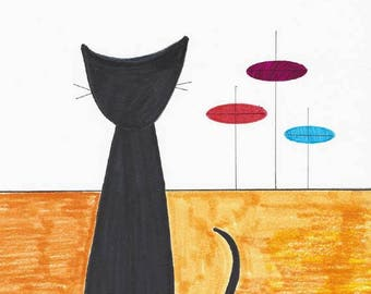 Handpainted Original Art - Mid Century Modern - Black Cat Silhouette -