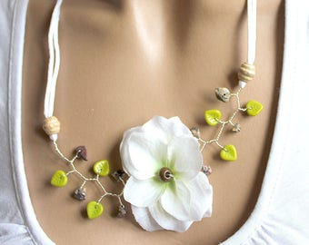 Necklace white branch hydrangea leaves