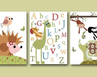 Baby Boy Room Decor Alphanet Nursery Wall Art Baby Boy Nursery Print Kids Wall Art Baby Nursery Decor Set of 3 Prints Elephant Monkey