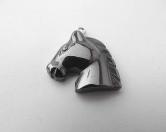 Natural hematite carved LIBBY-332 horse head pendant