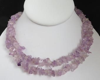 Purple Quartz Necklace | Lavender Beaded Quartz Chip Necklace
