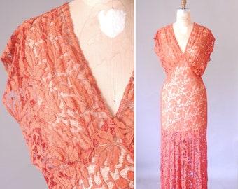 Blossoming Vines 30s lace gown   vintage 1930s lace dress    lace 30s maxi dress