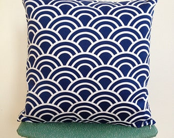 Navy and White Swell Geometric Arches Cushion Cover