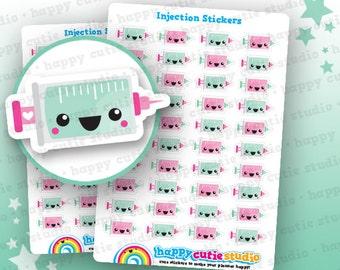 40 Cute Injection/Medicine/Health Planner Stickers, Filofax, Erin Condren, Happy Planner,  Kawaii, Cute Sticker, UK