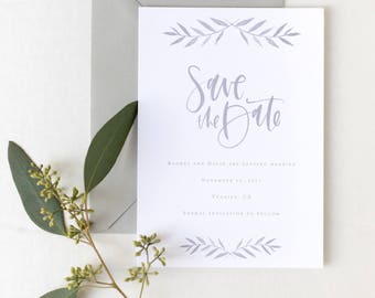 The Robin - Grey Custom Watercolor Save the Date