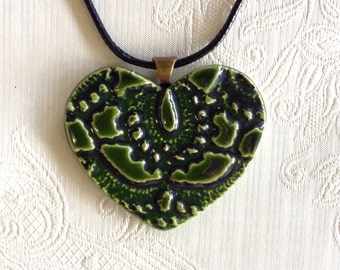 Heart shape ceramic pendant