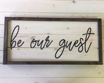 Be Our Guest Sign | Guest Bedroom Sign | Farmhouse Bedroom Decor | Handcrafted Wood Sign | Painted Sign | A Simple Impression