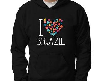 I Love Brazil Colorful Hearts Hoodie