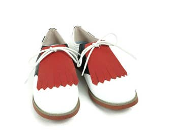 Red Kilties for Womens Golf Shoes, Saddle Shoes, Lindy Hop Shoes Swing Dance Golf Accessories Gifts for Golfers Shoe Tongue Shoe Accessories