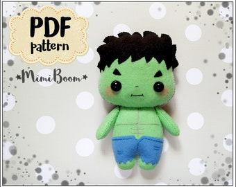 Easy Hulk pattern Felt Hulk PDF pattern Marvel inspired Avengers pattern felt kawaii Hulk doll pattern Hulk sewing easy pattern