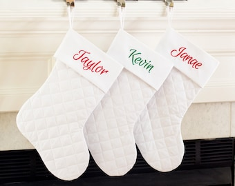 Personalized Christmas Stocking. White Christmas Stocking. White Quilted Christmas Stocking.