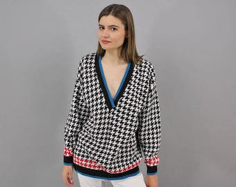 Vintage 80s Sweater / Oversized V-Neck Houndstooth Sweater / Slouchy Sweater / Boyfriend Sweater / Casual Sweater Δ fits sizes: S/