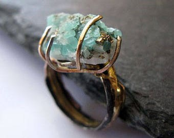 Natural Colombian Emerald Ring Size 5.5 Rough Emerald Ring Raw Emerald Ring Raw Gemstone Ring Unique Rustic Ring Anniversary May Birthday
