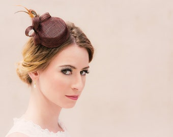 Bridal hat fascinator bellboy loops feathers sinamay chocolate