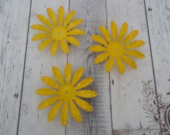 """Vintage Painted Steel Flower Stamping, Yellow, 3"""" Wide w/ Holes for Swedging, Brooch Base, Focal Piece Base, Craft Supply, Jewelry Design"""