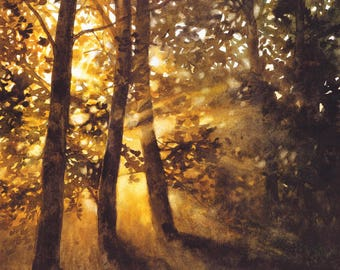 forest original art - trees original watercolor - watercolor landscape painting - light in the forest painting - dark watercolor art