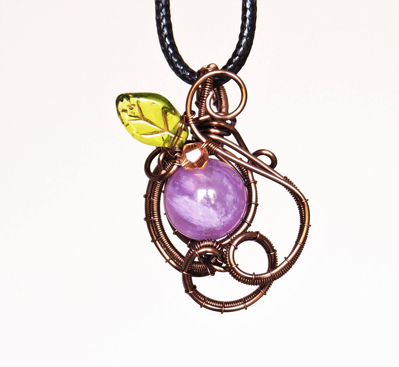 Amethyst pendant Wire wrapped gemstone necklace leaf leafy nature ...