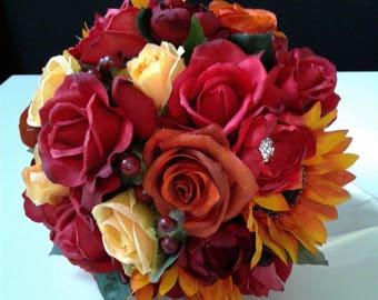 Fall Wedding Bouquet-Fall Bridal Bouquet-Ready to Ship Silk Flower Wedding Bouquet