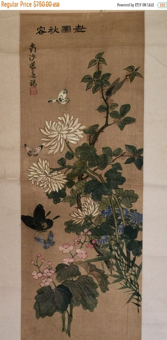 Antike chinesische Aquarelle Seide Malerei Panel ohne Rahmen