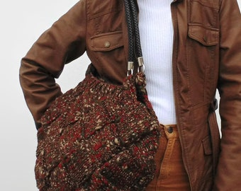 Shoulder Bag Knitted in Tweed Brown Soft Wool - Hand Knit Purse, Chunky Hobo Cute Long Straps, Boho, Tote, Womens, Twin Grab Handles, Winter
