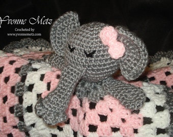 """Crocheted Baby """"Ella"""" the Elephant """"Lovey"""" or Security Blanket Made to Order"""