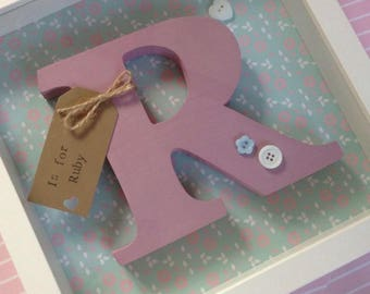 Baby shadow box with painted wood letter for baby girl or baby boy