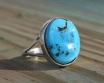 Navajo handmade sterling silver & free form morenci turquoise ring 6.25