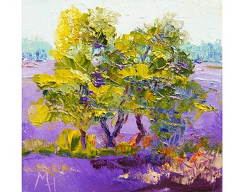 Impressionist landscape painting, Miniature Art, In the Middle of the Lavender, tree painting, original palette knife oil painting 4x4 SFA
