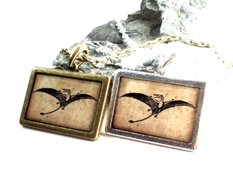 Dinosaur Necklace - Pterodactyl Necklace - Dinosaur Pendant in Bronze or Silver - Jurassic Fossil - Dino Jewelry