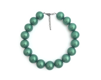 Chunky Pearl Necklace, Big Pearl Necklace, Faux Pearl Necklace, Bridal Necklace, Wedding Necklace, Green