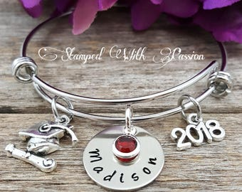 Graduation Bracelet, Personalized gift, Class of 2018, 2018 graduation, College graduation, Graduation jewelry, Gift for her, College Grad