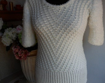 Woman knitted Pullover in creamy white color, geometrical pattern, sleeves from hairy wool, handmade pullover, Xmas gift, READY TO SHIP