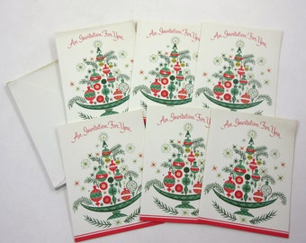 Vintage Unused Christmas Party Invitation Cards by Gibson Set of 6