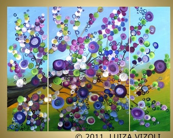 Original Large Painting LILAC BLOSSOM Fantasy Spring Landscape Tree Whimsical Artwork HUGE 48x36 by Luiza Vizoli
