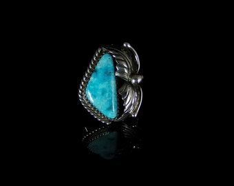 Women's Royston Turquoise Ring; Sterling Silver, Handmade, Hallmarked, Size 7.0, R0453