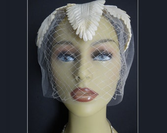 1960s Creme Hat . Wedding  . Garden Party .  Mad Man  . Femme Fatale .  Couture