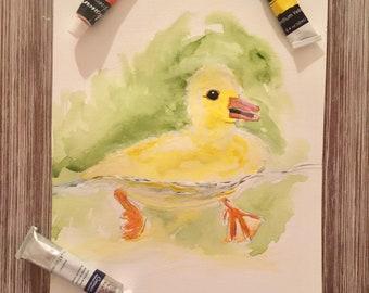 Original Yellow Duckling Painting