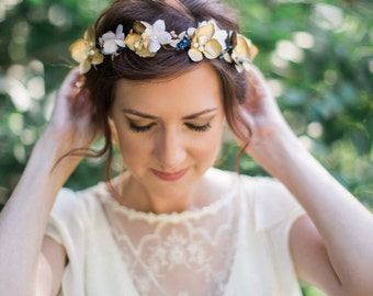navy and gold flower crown, navy and gold wedding, flower crown wedding, navy flower, bridal headpiece blush, navy floral crown, crystals
