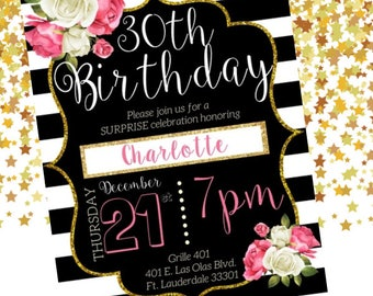 Beautiful, elegant, classy, pink and white flowers, roses, black and white background 30th birthday invitation + gold sparkles  + digital