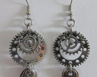 Steampunk Earrings, Silvertone Gears and Washers Dangle Earrings, Surgical Steel Ear Wires