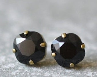Black Earrings Swarovski Black Studs Rounded Square Swarovski Crystal Black Stud Earrings Jet Black Cushion Earrings Black Bridesmaids Bride