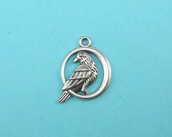 Silver Bird Charms (10) Silver Tone metal